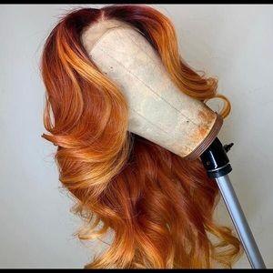 "22"" Light Brown/Blond/Orange Front Lace Wig Unit"